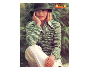 V-neck Pullover Knitting Pattern - long sleeves, textured yarn
