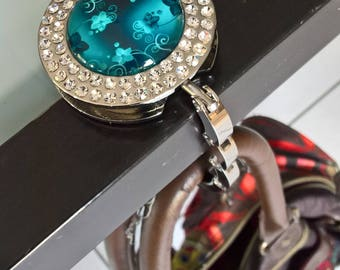 Bag hook with glass cabochon 30mm emerald green flowers