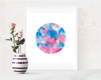 Pink Blue Abstract circle, PRINTABLE Art, Blue Pink Watercolor Print, Watercolor Printable Art, Abstract Watercolour Print, Modern Wall Art