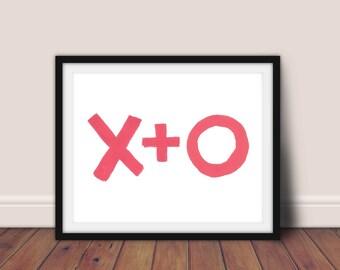 Pink X+O print, Printable art, X+O, kiss wall decor, love print, pink XO typography poster, Scandinavian style, minimalist art print, pink