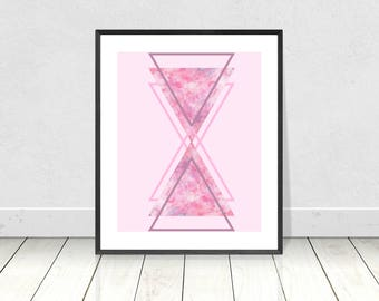 Pink Geometric triangles, Printable art, Pink Abstract, Symmetrical Triangles, Scandi Style, Pink Minimalist Poster, Modern Abstract Decor