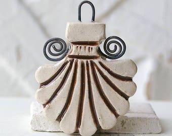 Pendant, ceramic, ivory, Brown, 1 X