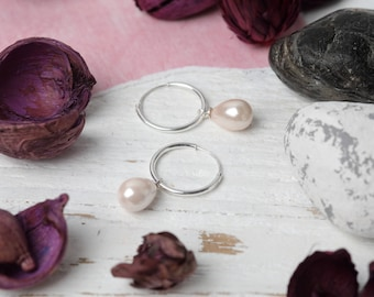 Pale Pink Pearl and Sterling Silver Earrings