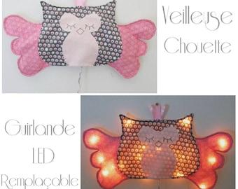 Veilleuse Enfant Bébé thème Chouette/Hibou pour guirlande LED