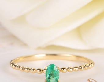Emerald Ring Oval Cut Engagement Ring Birthstone Beaded Eternity Stacking Ring Thin Mini Band Gold Women Anniversary Birthday Promise Gift