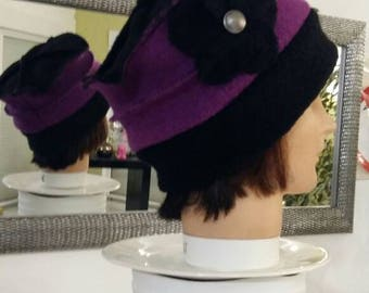 Beanie hat in Fuchsia and black boiled wool hat