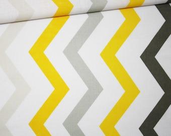 Chevron yellow, grey, beige, 100% cotton fabric printed 50 x 160 cm, zig zag pattern, yellow chevron.