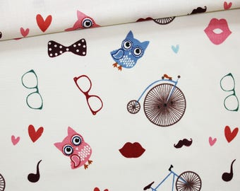 Owls fabric, bicycles, sunglasses, 100% cotton printed 50 x 160 cm, nice pattern, bicycles, glasses on
