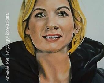 Thirteenth Doctor Original Doctor Who Fan Art 9x12 Portrait