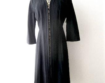 L 40s Long Coat Jacket Black Wool War Era Swing 30s Art Deco Lightweight by Le Vine Medium Large Extra