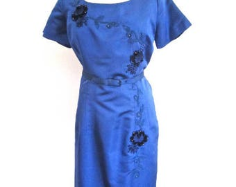 RESERVED L 50s Party Dress Blue Floral Appliqué Beading Satin Belt Short Sleeves Sheath Wiggle Cocktail Party by Petty Hite Large