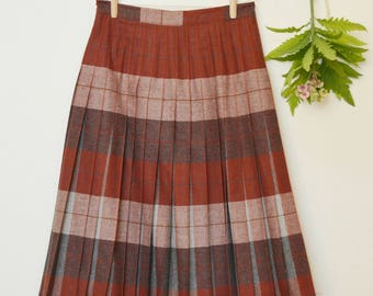 Vintage Reversible Plaid Wool Skirt