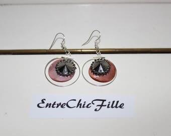 Hoop earrings rimmed silver Pearly pink