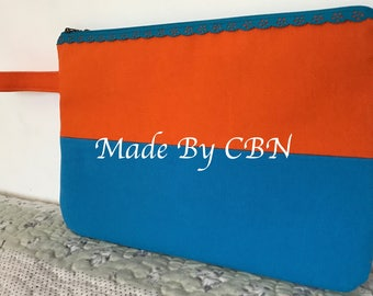 MAXI clutch in orange & Aqua cotton with turquoise strap and zipper in lace
