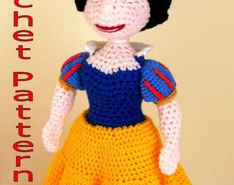 Snow White Doll Crochet Pattern. PDF Instant Download. Snow White Amigurumi Pattern
