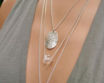 Triple necklace chains flower Moon