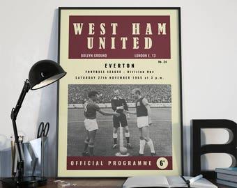 Poster Vintage Football (soccer) Programme - West Ham United vs Everton, November 1965. Wall Art Print Poster, Football Poster