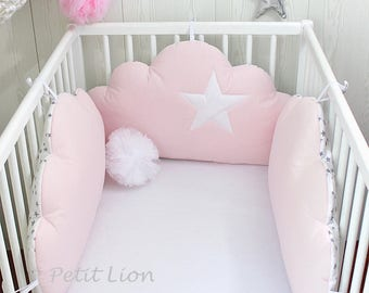 Baby cot bumpers for 60cm wide, 3 cloud cushions, pale pink, white/grey stars