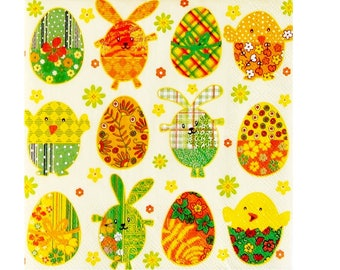 Set of 3 Easter eggs PAQ011 paper napkins