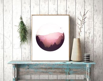 Scandinavian Print, Hipster Print, Minimalist Print, Abstract Circle Print, Abstract Landscape Print