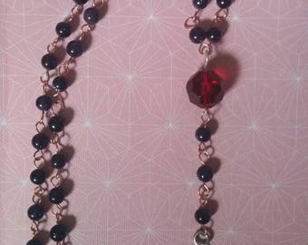 Koi Fish Mixed-Metal Copper Silver Red Glass Blue Goldstone Beaded Necklace