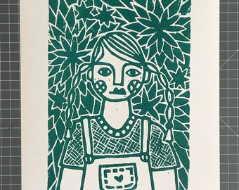 Girl in the garden, limited handmade linocut