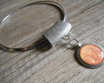 Necklace 2 in 1 silver pendant bail and orange round Pocket Watch - jewelry scarf cabochon Choker