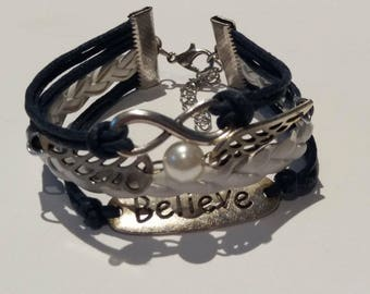 Bracelet multi-row leather and silver, Navy Blue & white