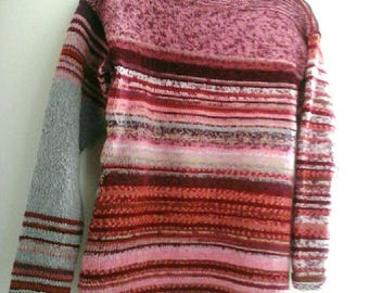 """Reversible """"Camille"""" gray, pink and heathered wool, for Sandrine Kallline hand knit sweater"""