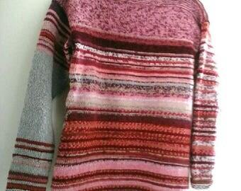 "Sweater reversible ""Camille"" grey wool, nrose and mottled, handknitted Kallline"