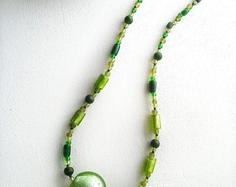 Green beads necklace with glass