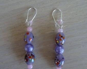Purple dangle earrings with pearls