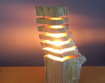 fragmented wood lamp #6 , led bulb  , log lamp , lamp design nature