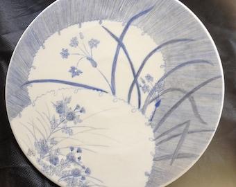 Large blue monochrome decor hand painted porcelain dish
