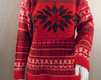 Red Ski Sweater Size Medium, Large Womens, small men's