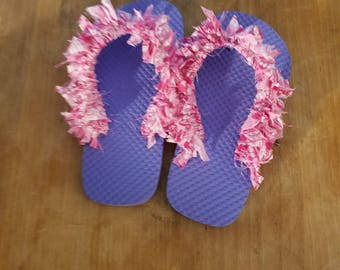 Customized Frilly Flip Flops Girls size 11-12. These flip flops add more fun to your day in the sun!Each pair can be customized to you taste