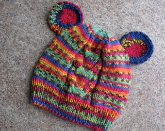 Knited Hat with ears Animal hat Ear Beanie Baby Hat Toddler Hat Girls Boys Gift Kid Hat Bear Hat Multicolored Hat Knit Bonnet Crochet Gifts