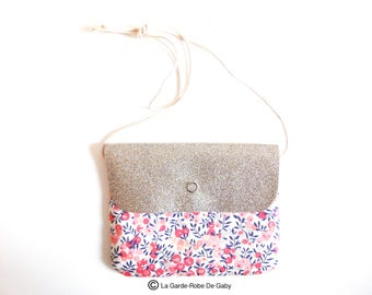 Girl's Sling purse in Liberty Of London fabric and glitter canvas - Whitshire Pink
