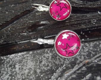 Small Stud Earrings with silver metal hooks and glass cabochon with silver on bright pink stars