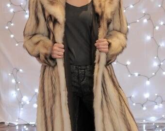 Natural Fitch Coat, Fitch Fur, Fur Coat, 1990's Fur Coat, Vintage Fur