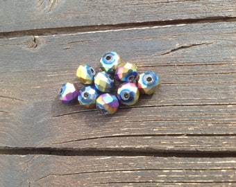 Metallic faceted 8mm beads