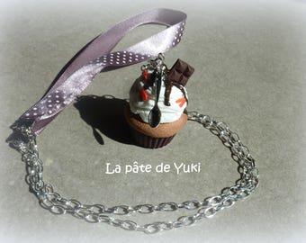 Strawberry Chocolate cupcake necklace handmade polymer clay
