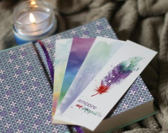 "Bookmark feather watercolor - ""Another chapter"""