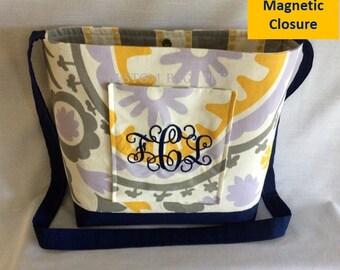 FREEFIRSTCLASSSHIP-Lavender Suzani & Navy Solid Cross-Body Messenger Bag with Navy Monogram