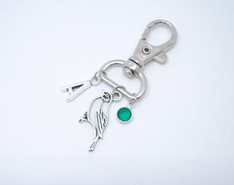 Dove keyring, dove keychain, bird bag charm, personalized keyring, zipper pull, custom keyring, custom keychain, birthstone keychain