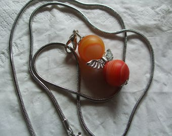 "Angel charm ""Agate orange"" + silver plated snake chain - length 60 cm"