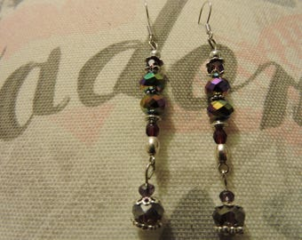 Nice pair of earrings with faceted, purple, multicolor