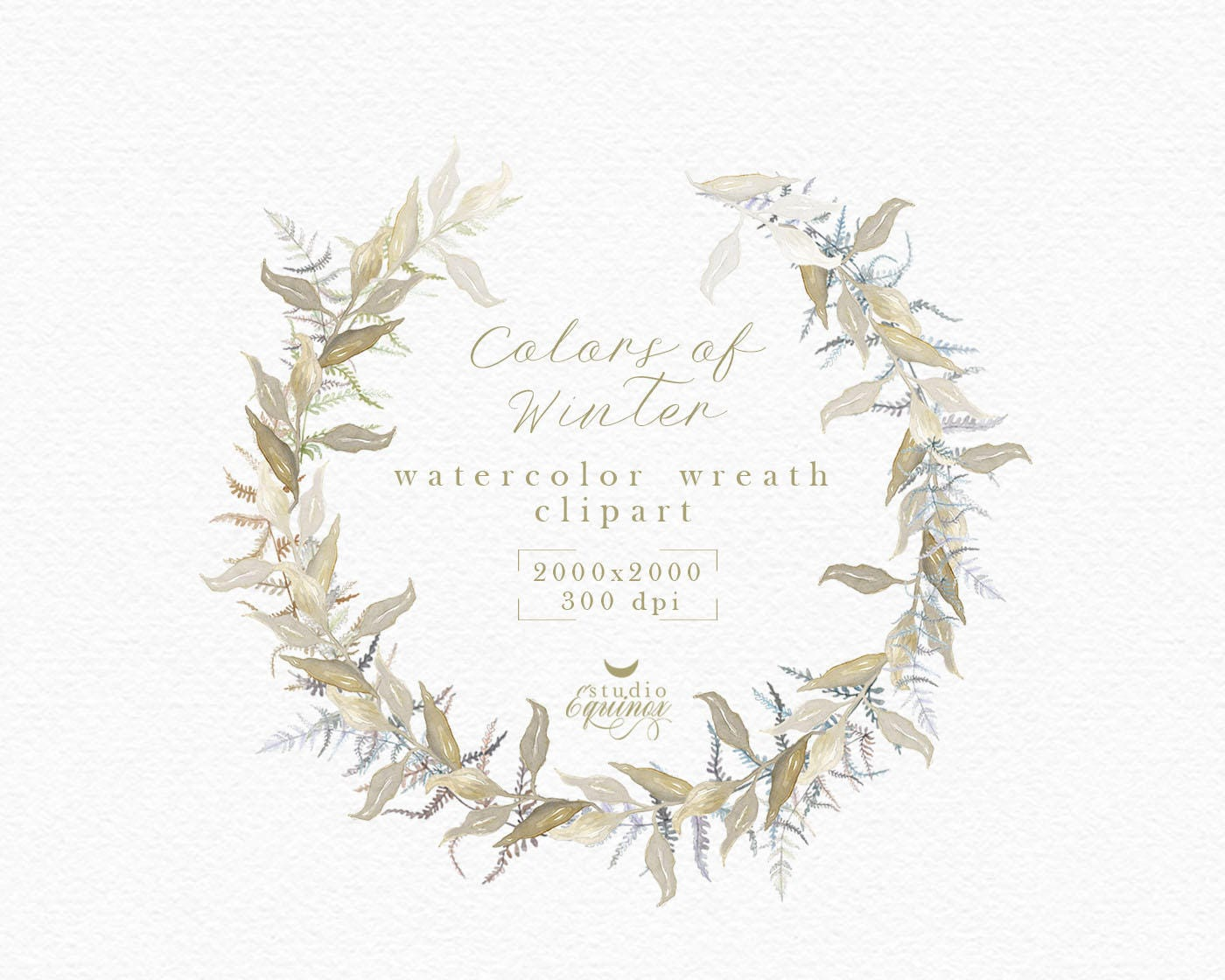Watercolor Wreath Clipart Fern And Leaves Winter Rustic Autumn