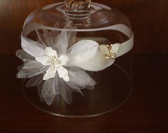 rhinestone Butterfly christening headband