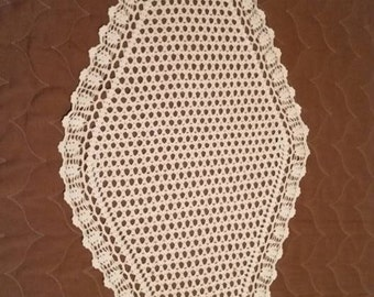Brand NEW Vintage (1950-1960) white crochet table runner, hand made.